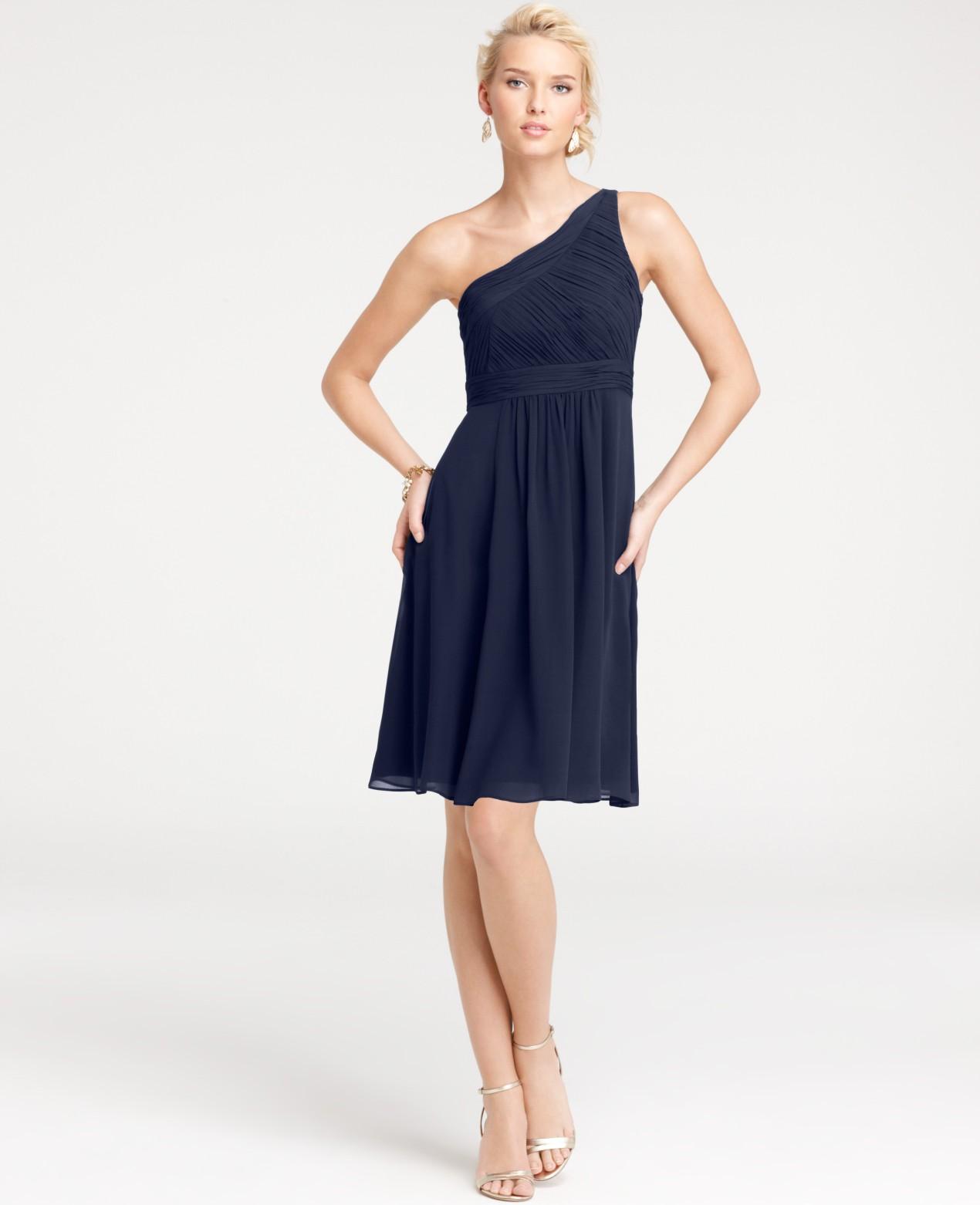 Ann taylor petite silk georgette one shoulder bridesmaid for Silk georgette wedding dress