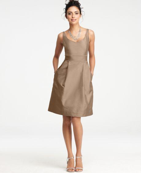 Ann taylor silk dupioni vneck bridesmaid dress in brown for Anne taylor wedding dress