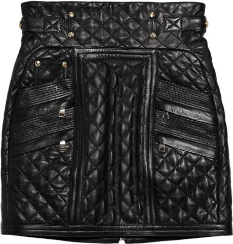 Balmain Quilted Leather Mini Skirt In Black Lyst