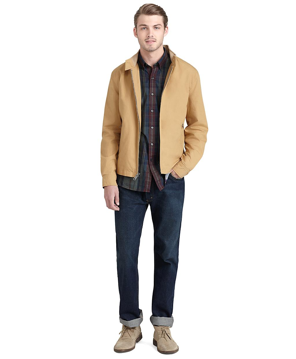 Brooks brothers Light-weight Cotton Jacket in Natural for Men | Lyst