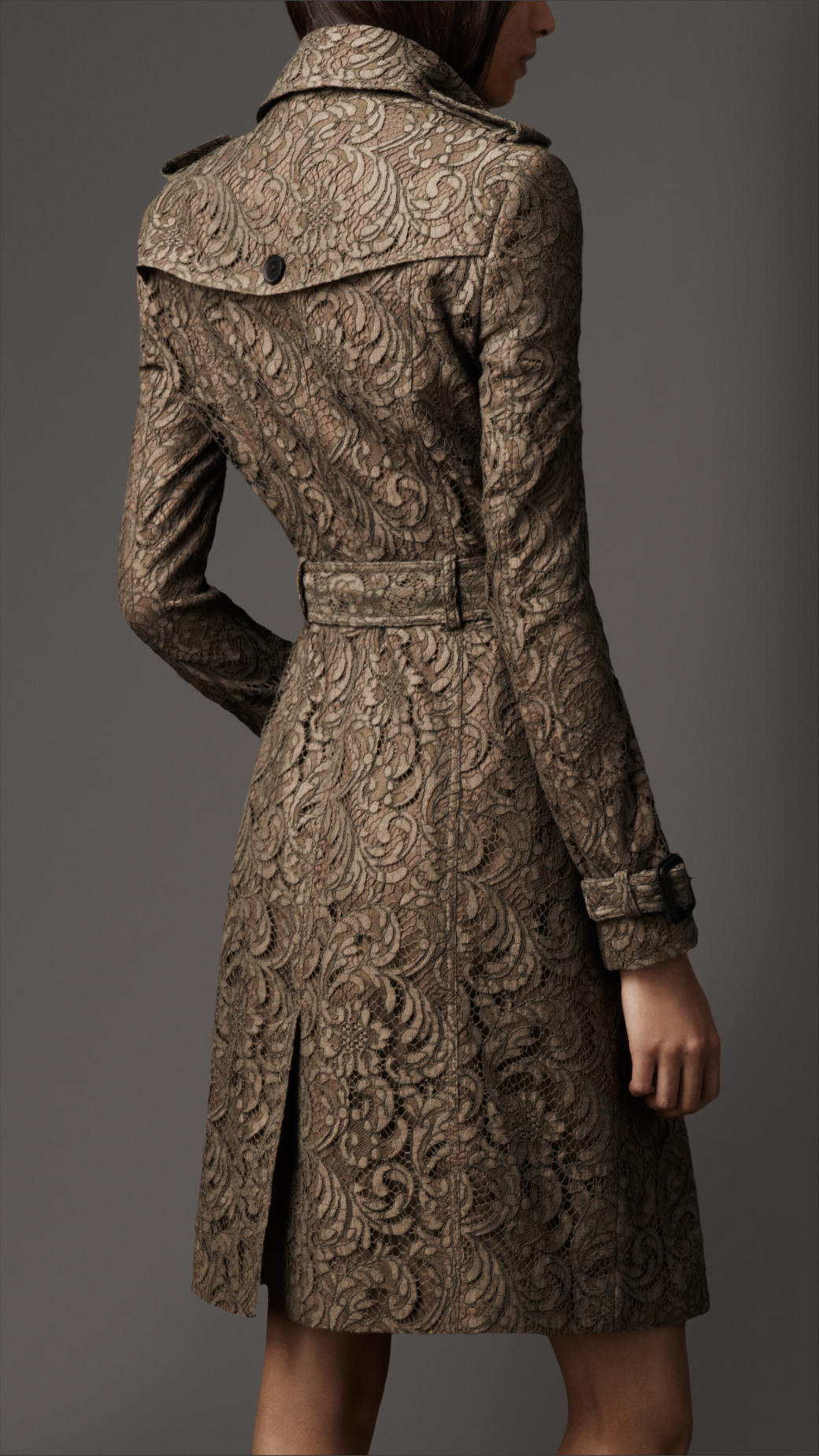 Burberry Long Lace Trench Coat In Brown Lyst