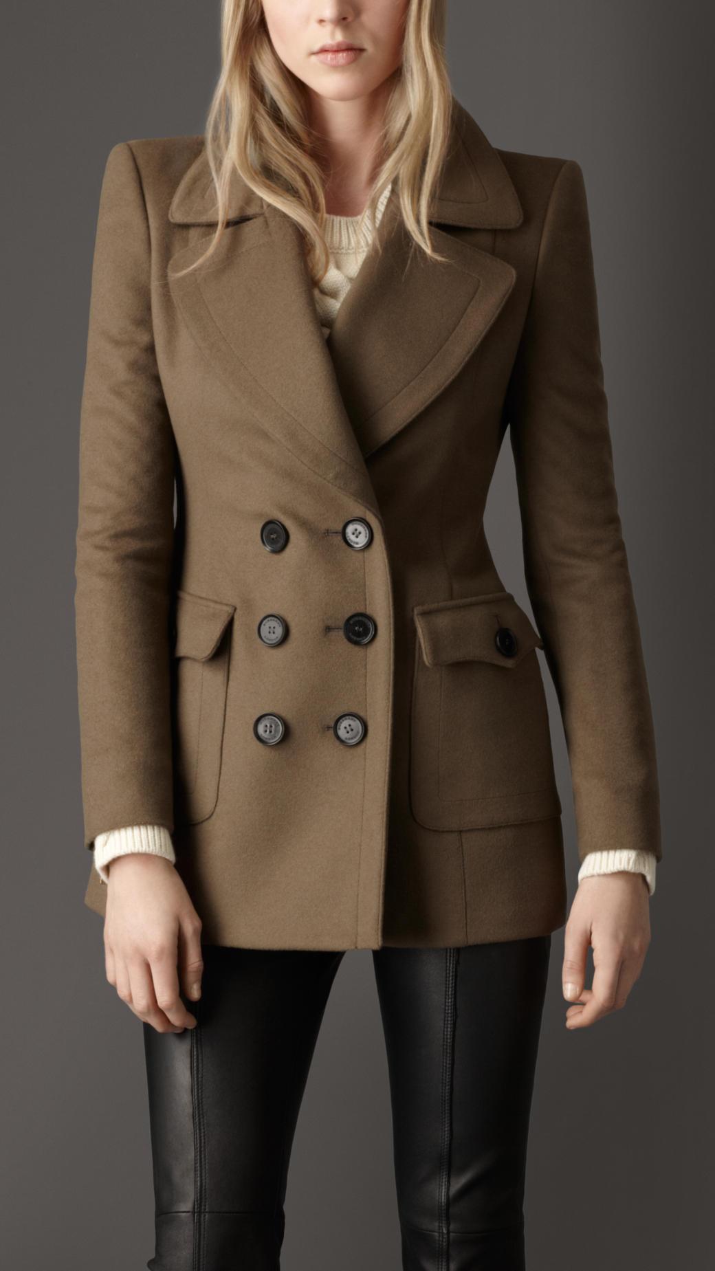 Burberry Oversize Pocket Pea Coat in Brown | Lyst