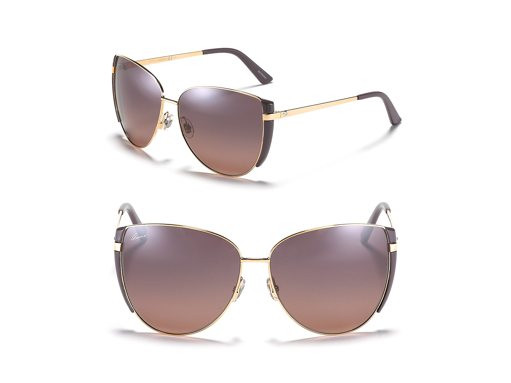 3e6451f46fe Lyst - Gucci Round Oversized Aviator Sunglasses with Purple Trim in ...