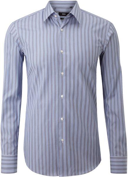 Hugo boss long sleeve multi stripe enzo cotton shirt in for Hugo boss formal shirts