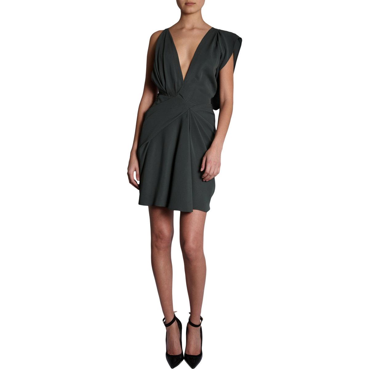 Asymmetric Drape Dress: J. Mendel Asymmetric Drape Dress In Blue