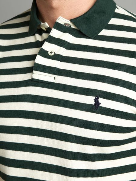 Polo ralph lauren slim fitted twin striped polo shirt in for Forest green polo shirts