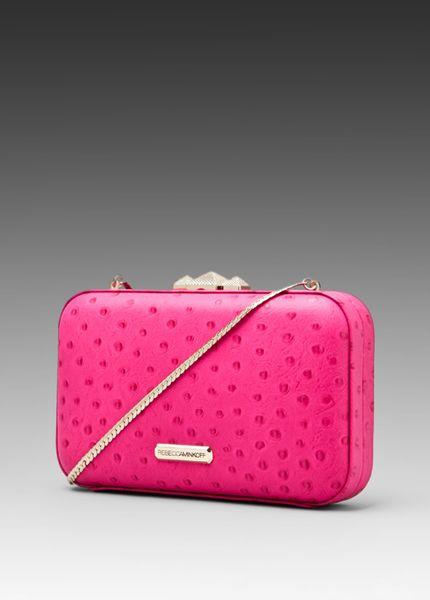 Rebecca Minkoff Minaudier Clutch in Pink (hot pink ostrich)