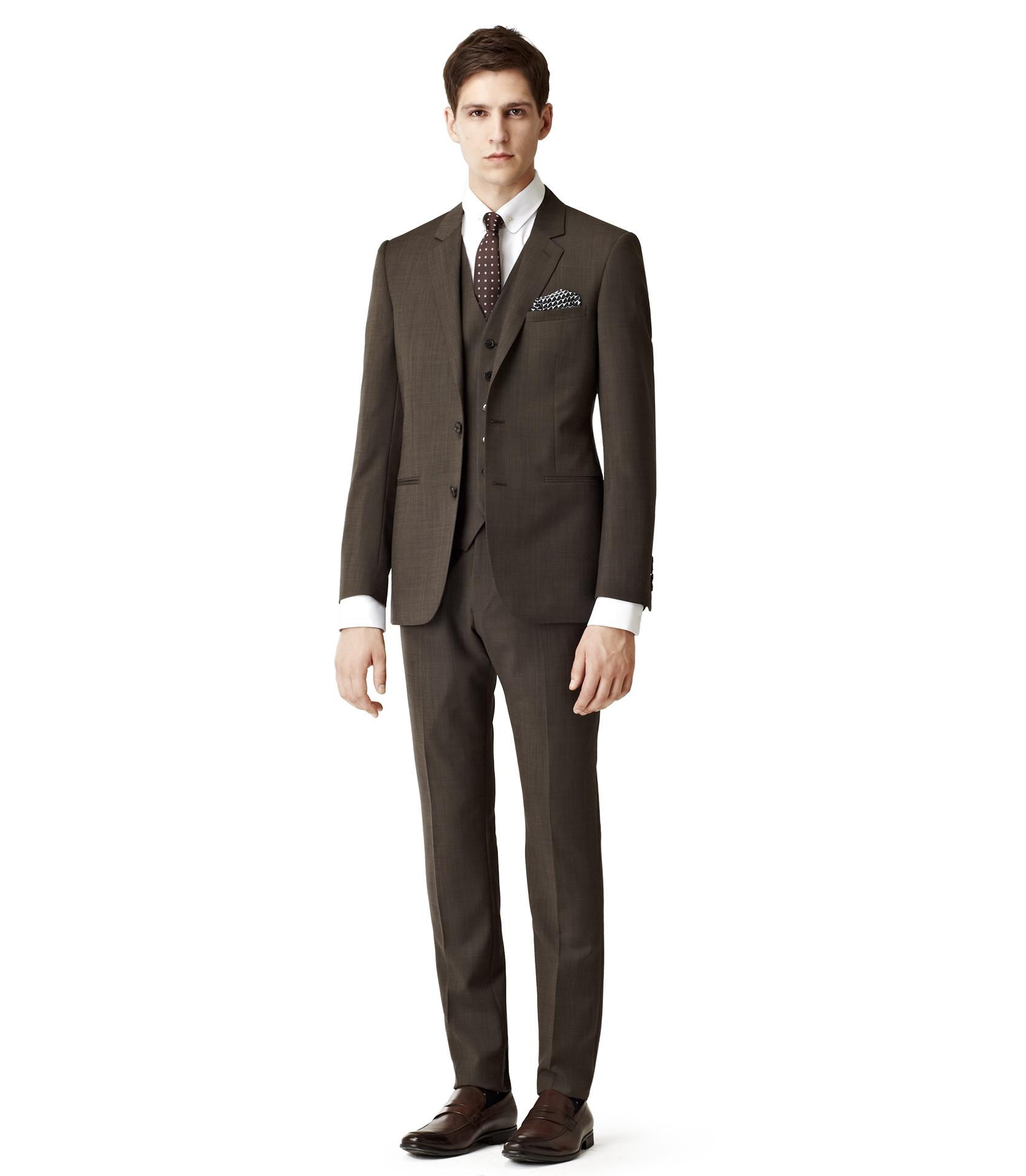 Reiss Textured 3 Piece Suit Waistcoat in Brown for Men | Lyst