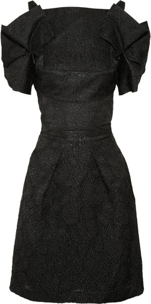 Roland Mouret Diana Brocade Dress in Black
