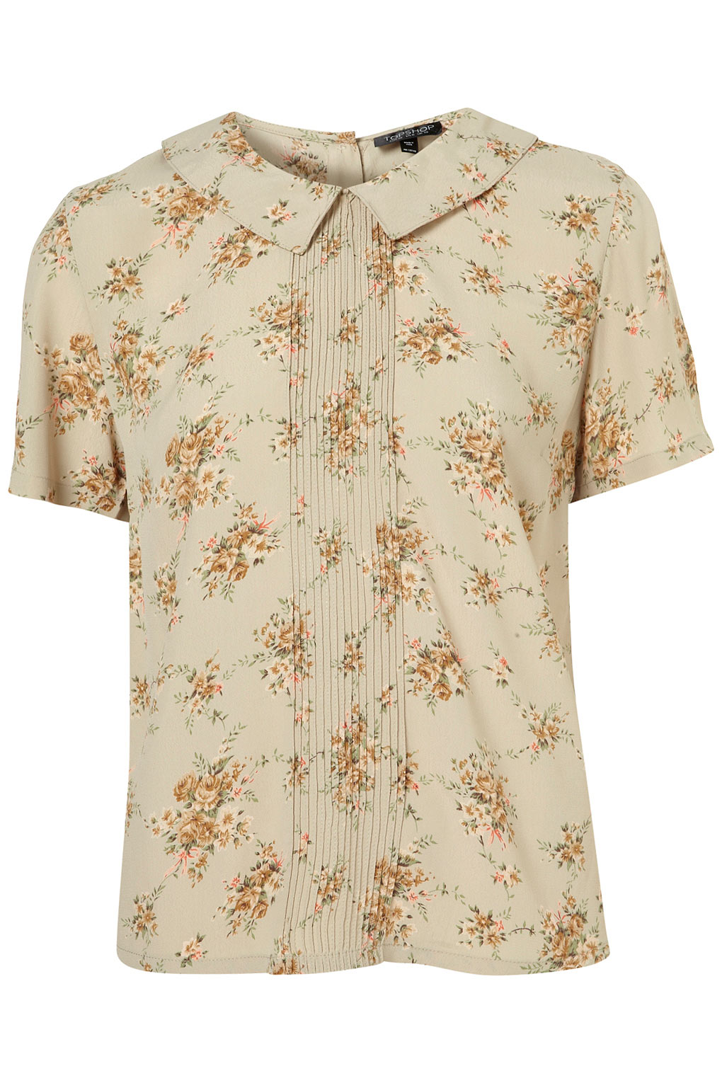 3c6f23377377f7 TOPSHOP Floral Pintuck Collar Blouse in Natural - Lyst