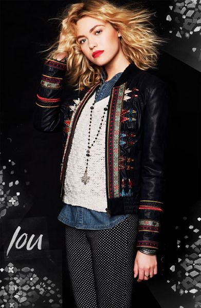 Free people embroidered faux leather jacket in brown