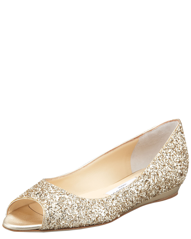 ca5b32041916 Lyst - Jimmy Choo Beck Opentoe Glitter Flat Champagne in Metallic