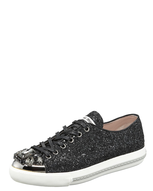 Lyst Miu Miu Bejeweled Glitter Sneaker In Black