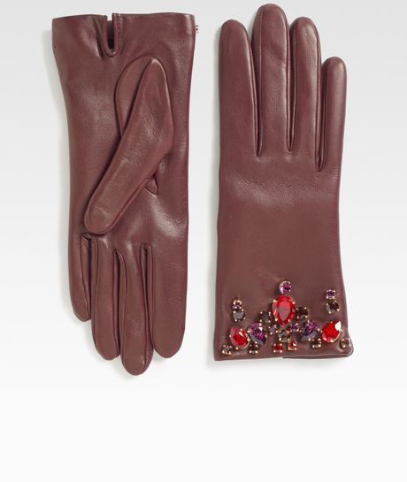 Prada Swarovski Crystal Leather Glovesbordeaux in Purple (bordeaux)