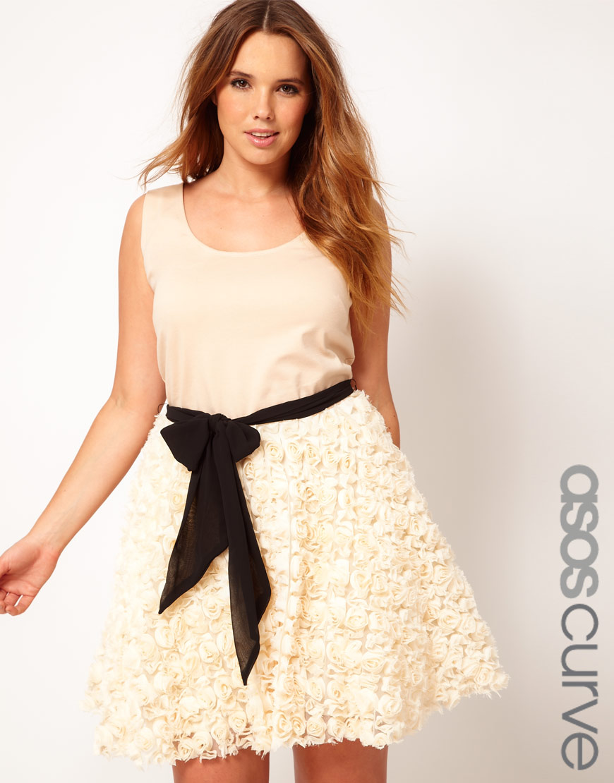 796a45a8132 Lyst - ASOS Curve Party Dress with Rose Skater Skirt in Natural