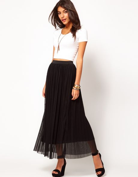 mesh pleated maxi skirt in black lyst