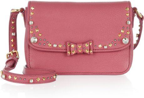 Miu Miu Embellished Leather Shoulder Bag in Pink