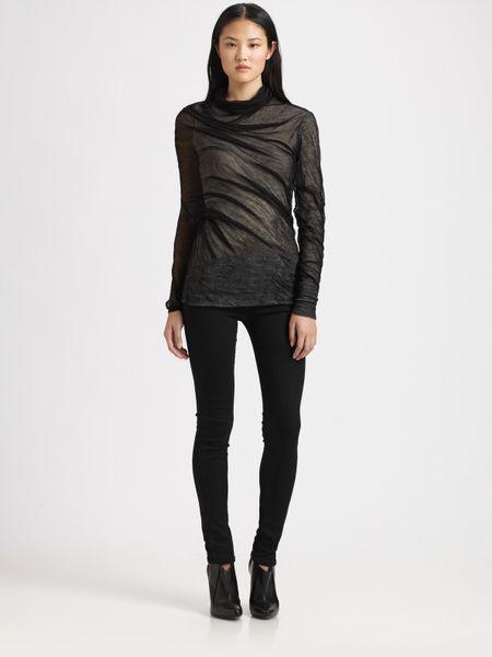 Alexander Wang Asymmetrical Shrink Wrap Top in Black