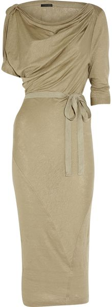 Donna Karan New York Draped Washed Stretch Linen Dress in Beige (sand)