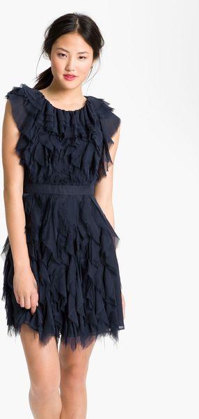 Jill Stuart Raw Edge Silk Chiffon Dress in Blue (navy)