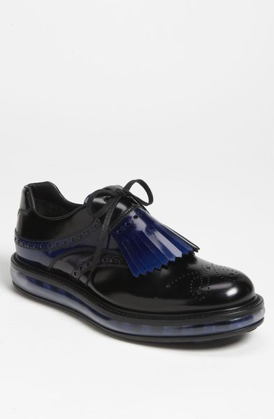 Prada Levitate Kiltie Slip On in Black for Men (black/ colbalt) - Lyst