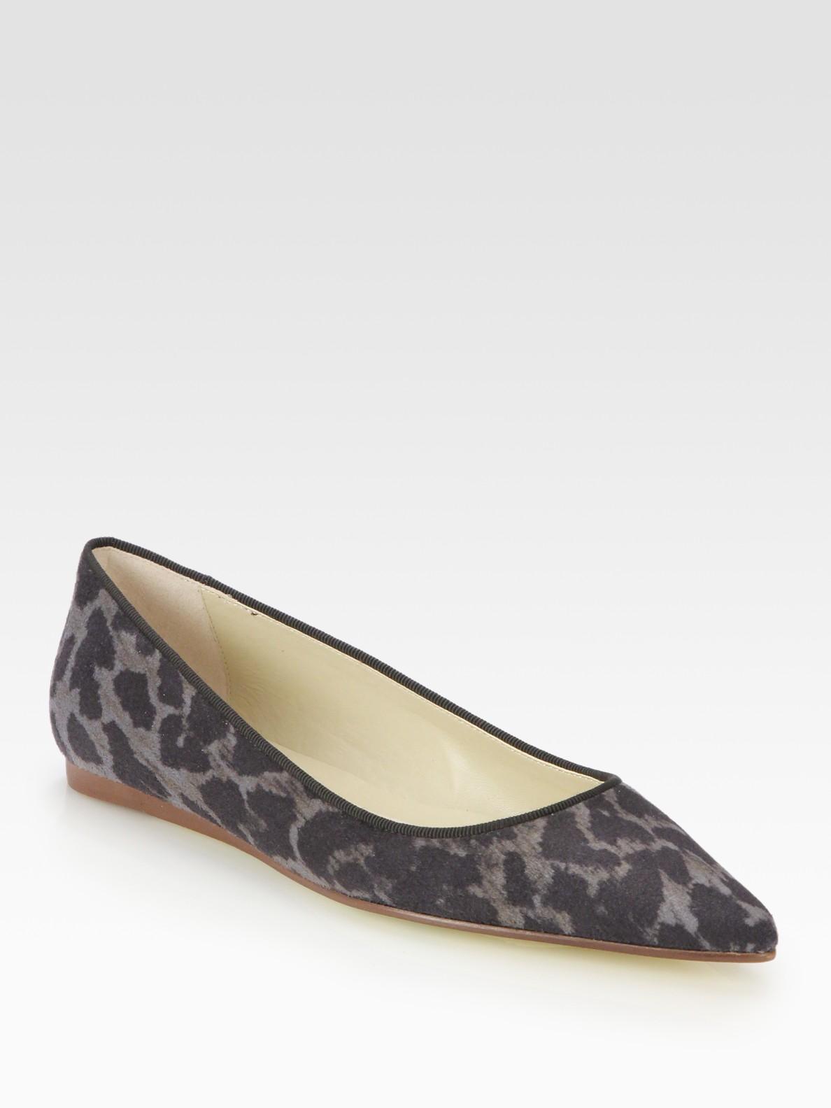 2a6419d7ed53 Stella McCartney Leopard-print Faux Suede Ballet Flats in Gray - Lyst