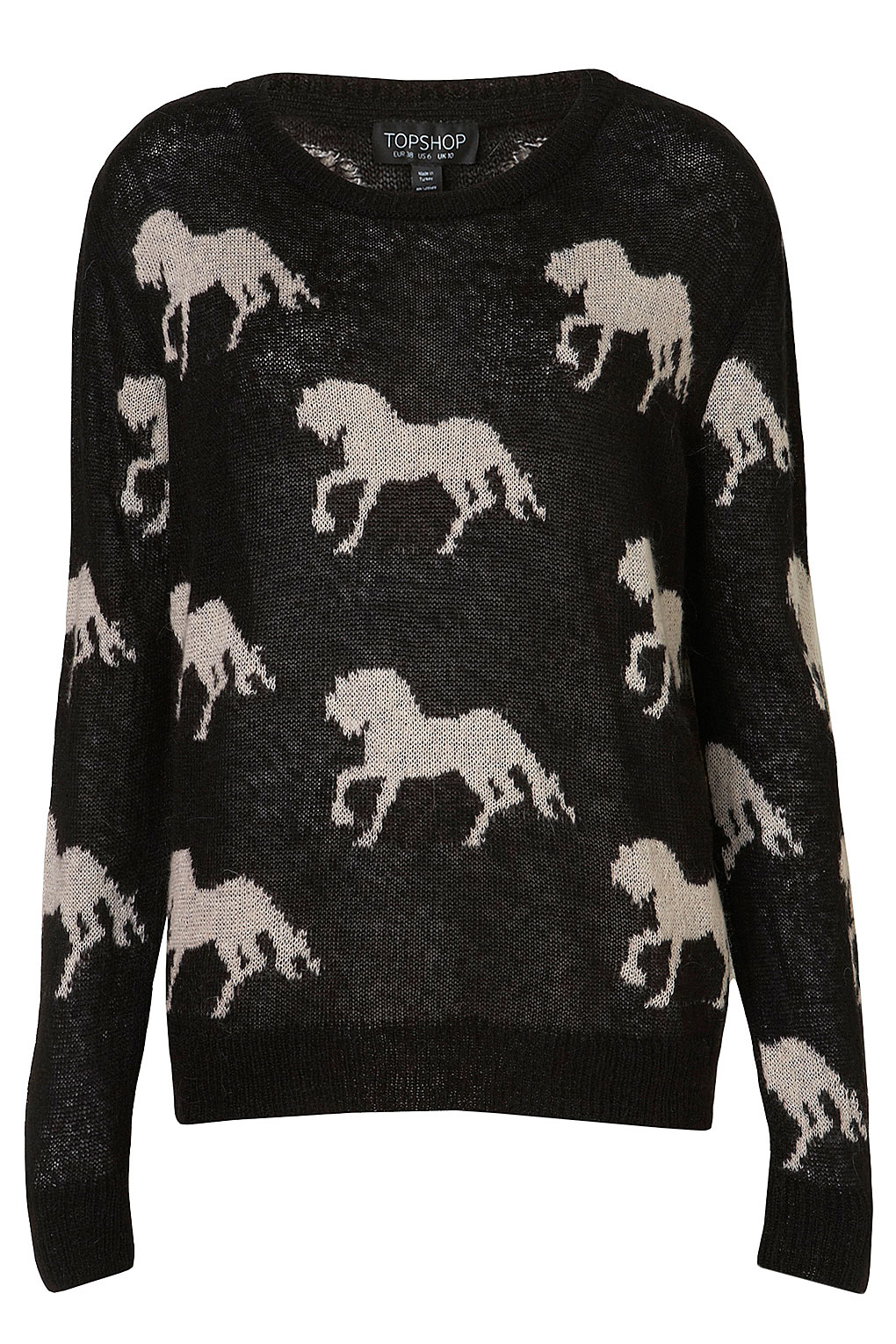 Topshop Knitted All Over Horses Jumper in Black Lyst