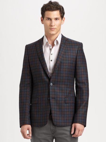 Versace Plaid Blazer In Gray For Men Grey Lyst