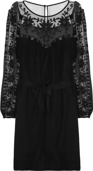 Alice By Temperley Vanessa Embroidered Tulle and Silk Crepe Dress in Black