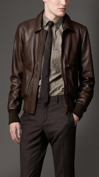 Burberry Leather Bomber Jacket in Brown for Men (dark brown) | Lyst
