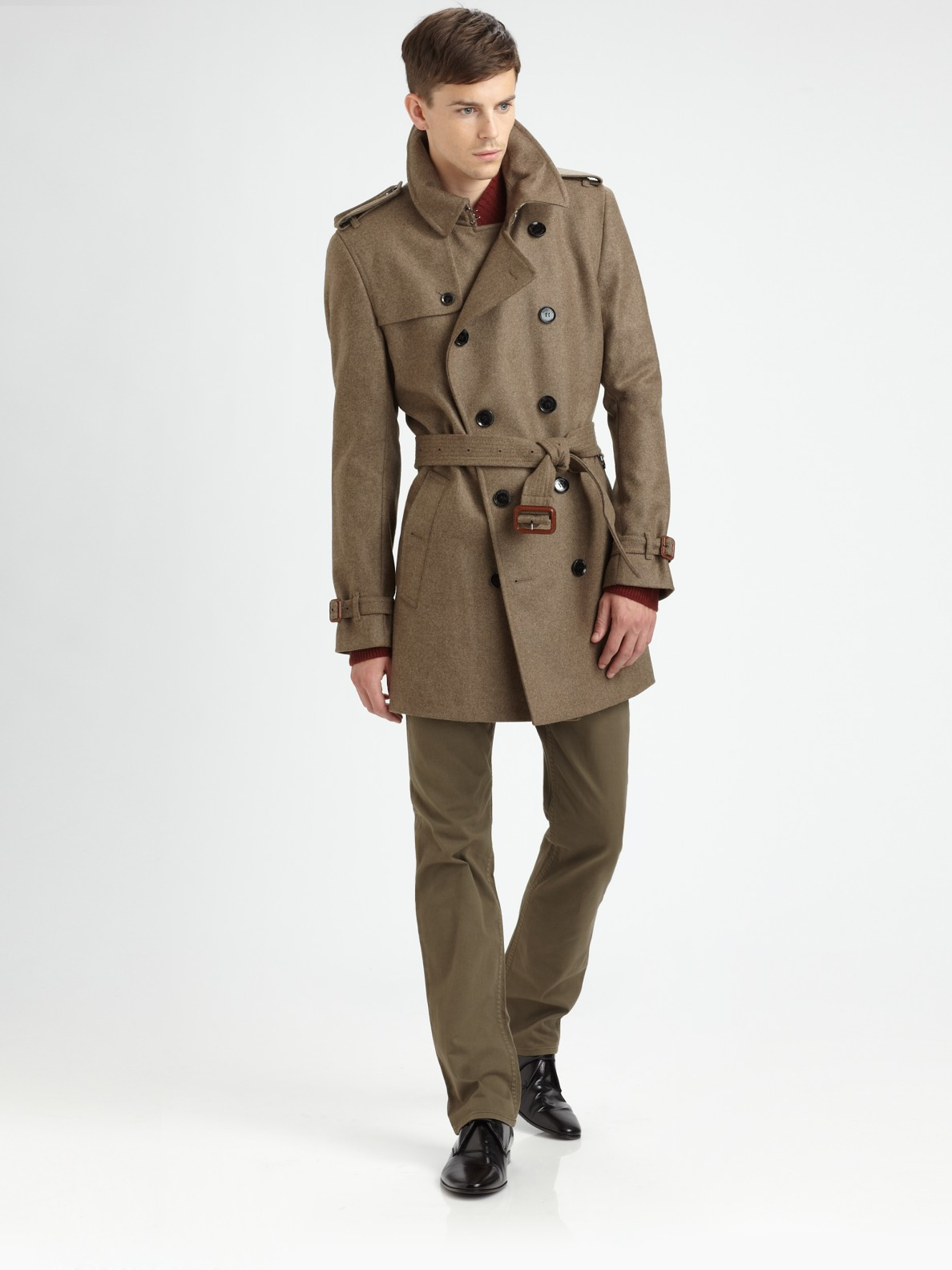 Burberry Virgin Wool Trenchcoat In Green For Men Lyst