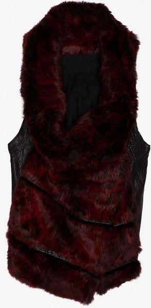 Helmut Lang Flux Fur Vest in Red