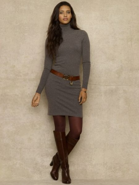 Ralph Lauren Blue Label Cashmere Turtleneck Dress In Gray