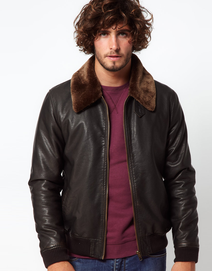 Asos Asos Faux Leather Jacket With Removable Borg Collar
