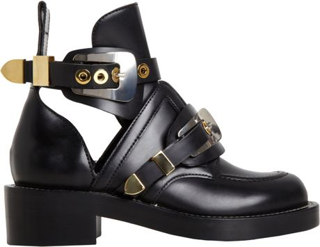 Balenciaga Buckle Ankle Boot in Black (gold) - Lyst