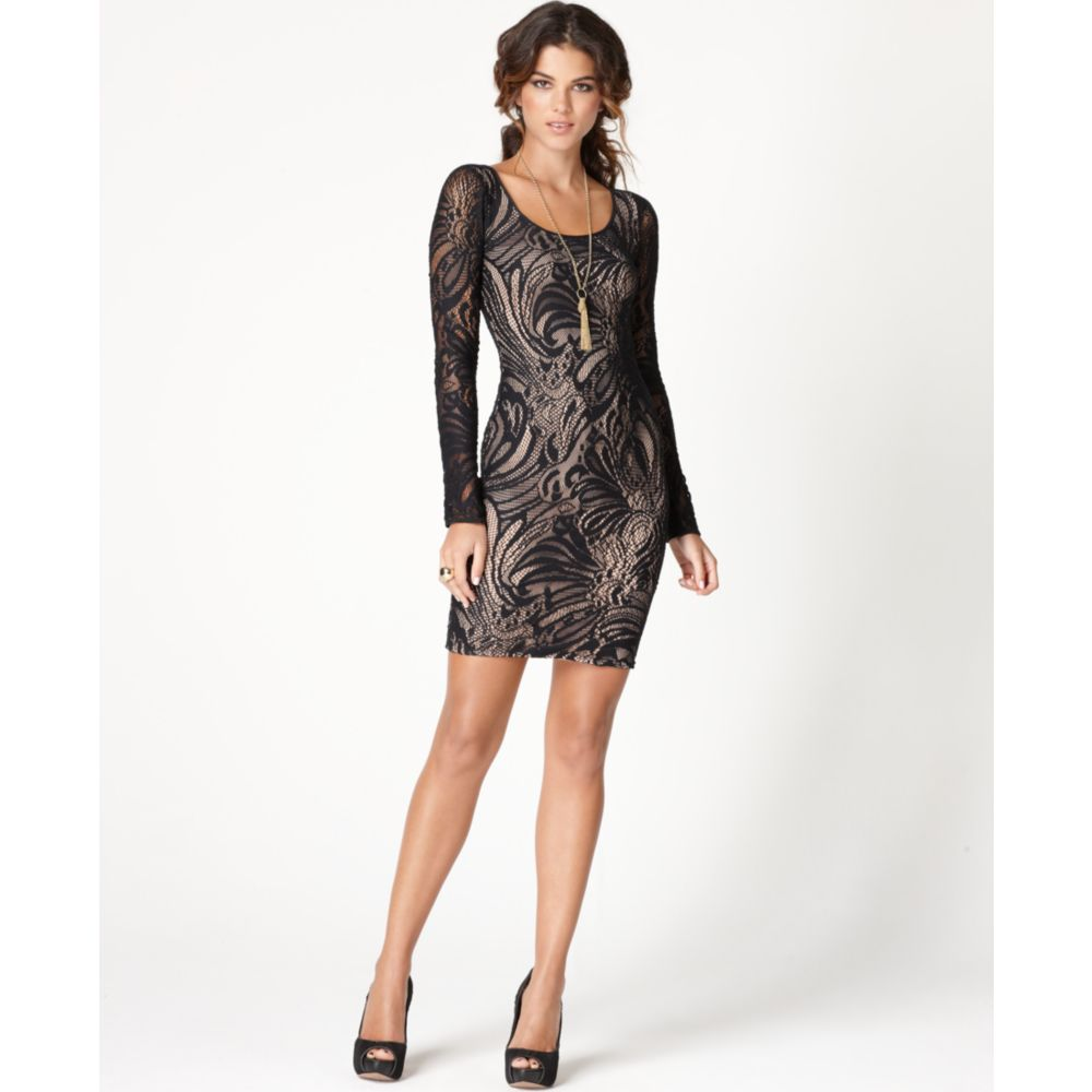 Lyst - Bcbgmaxazria Tanya Long Sleeve Lace Scoop Neck Cocktail Dress ...