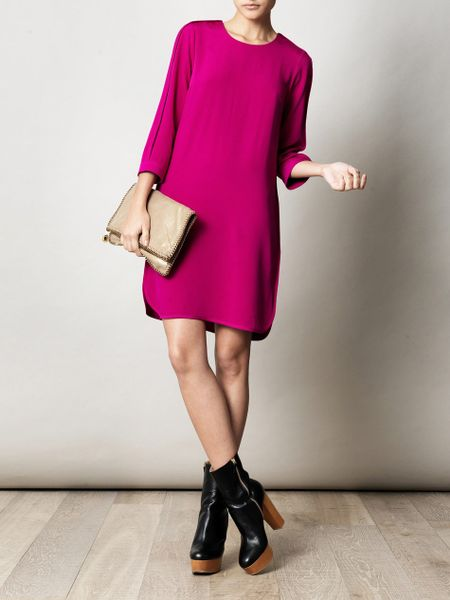 Freda Lorna Silk Bound Dress In Pink Magenta Lyst