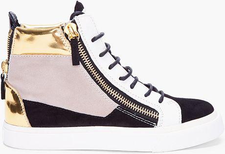 Giuseppe Zanotti August Colorblock Suede Sneakers in Multicolor (black)