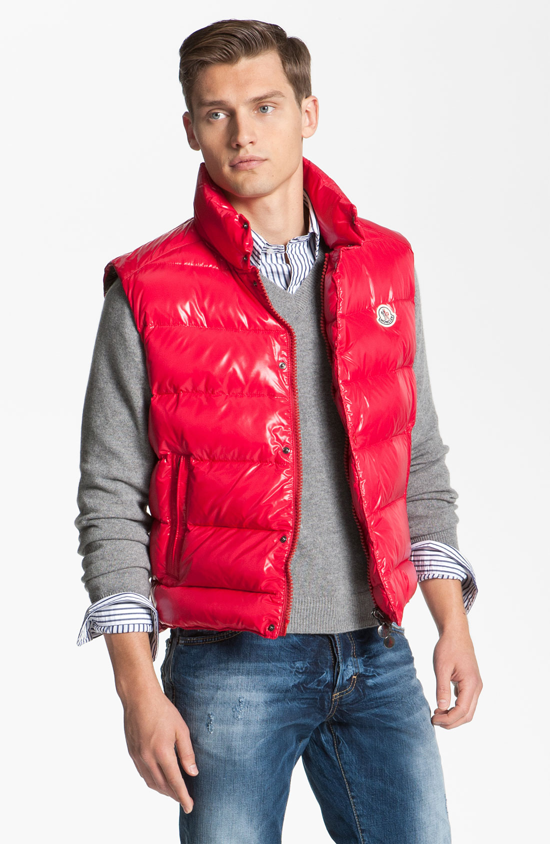 5d7b75f334ad Red Moncler Tib Quilted Down Vest.Moncler Tib Quilted Down Vest In ...