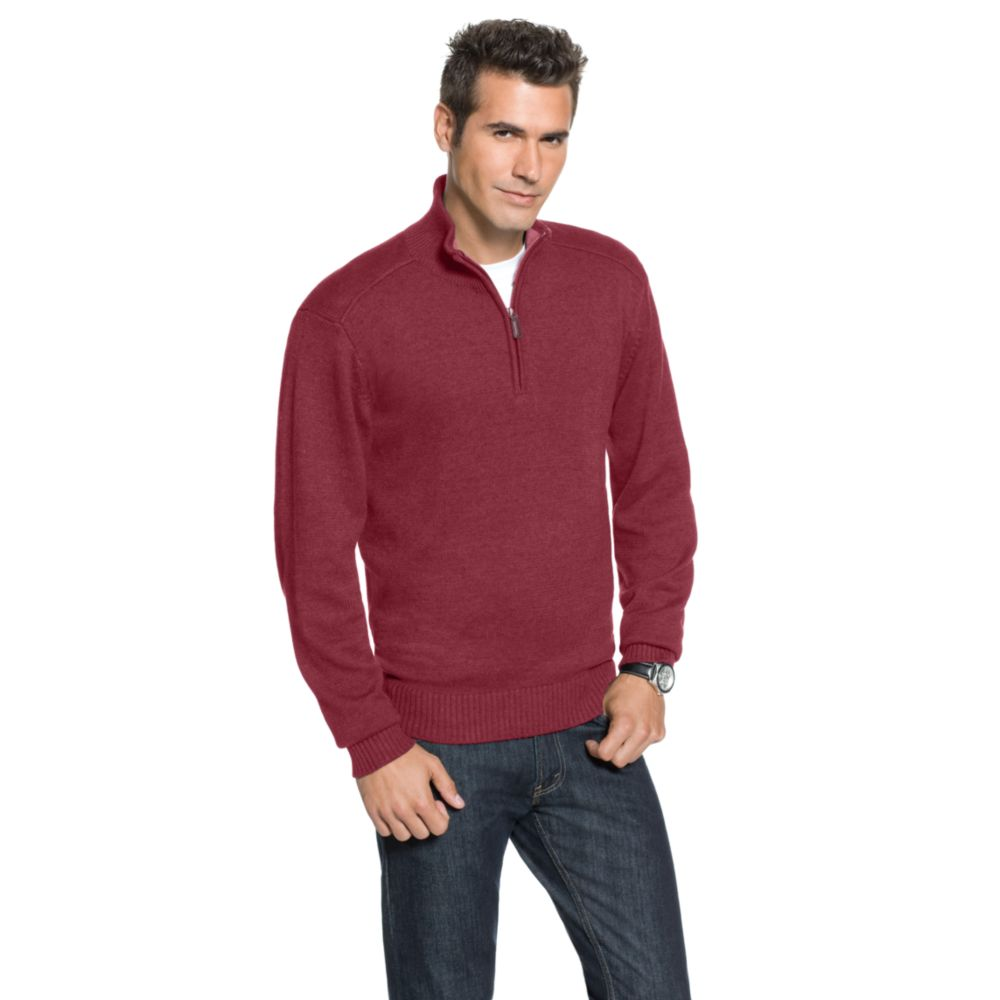 Oscar de la renta Quarter Zip Sweater in Red for Men | Lyst