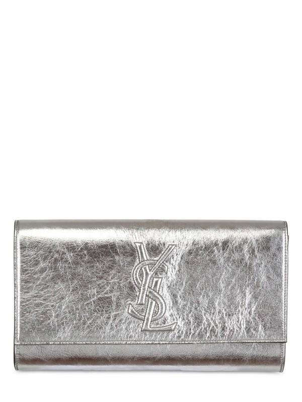Saint laurent Belle De Jour Patent Clutch in Silver | Lyst