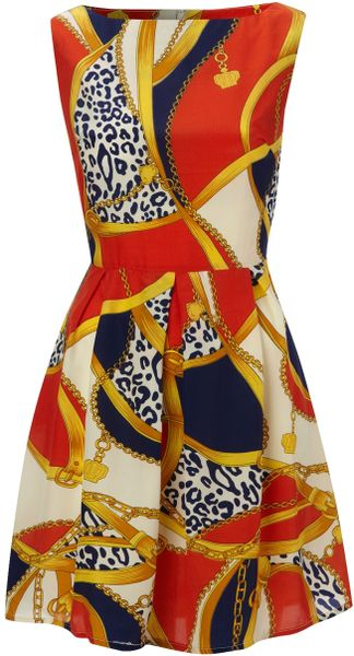 Ax Paris Ax Paris Chain Print Sleeveless Dress in Red - Lyst