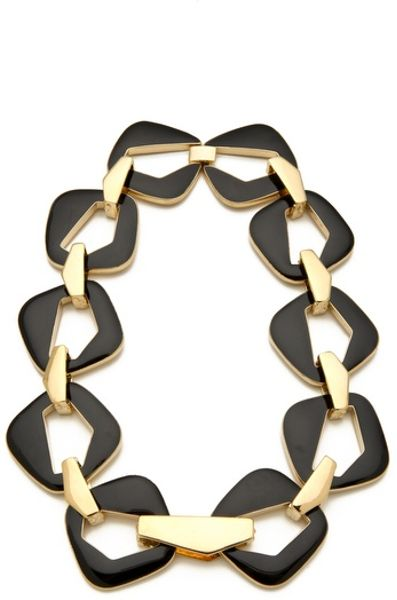 Belle Noel Enameled Modernista Necklace in Black (gold)