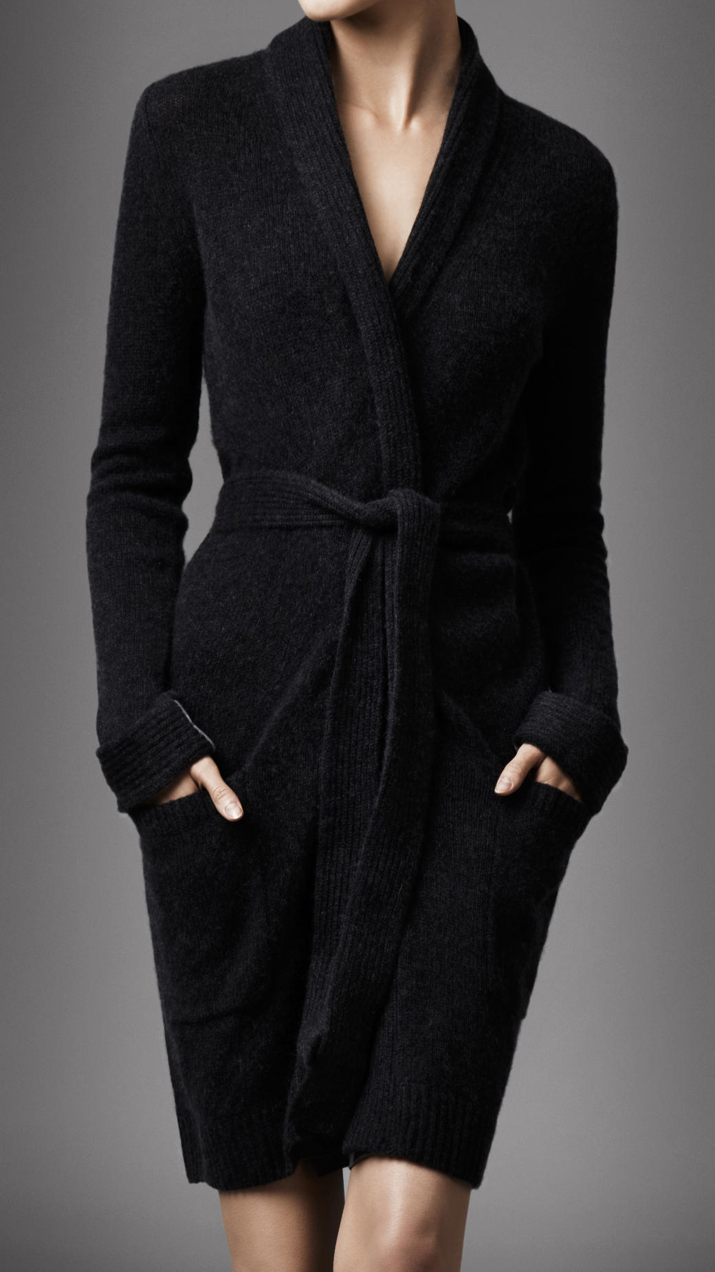 Lyst - Burberry Cashmere Dressing Gown in Black