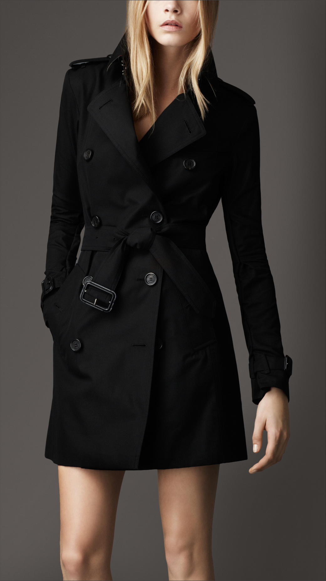Lyst Burberry Mid Length Cotton Gabardine Trench Coat In