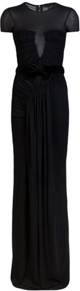Burberry Prorsum Rouched Gown in Black