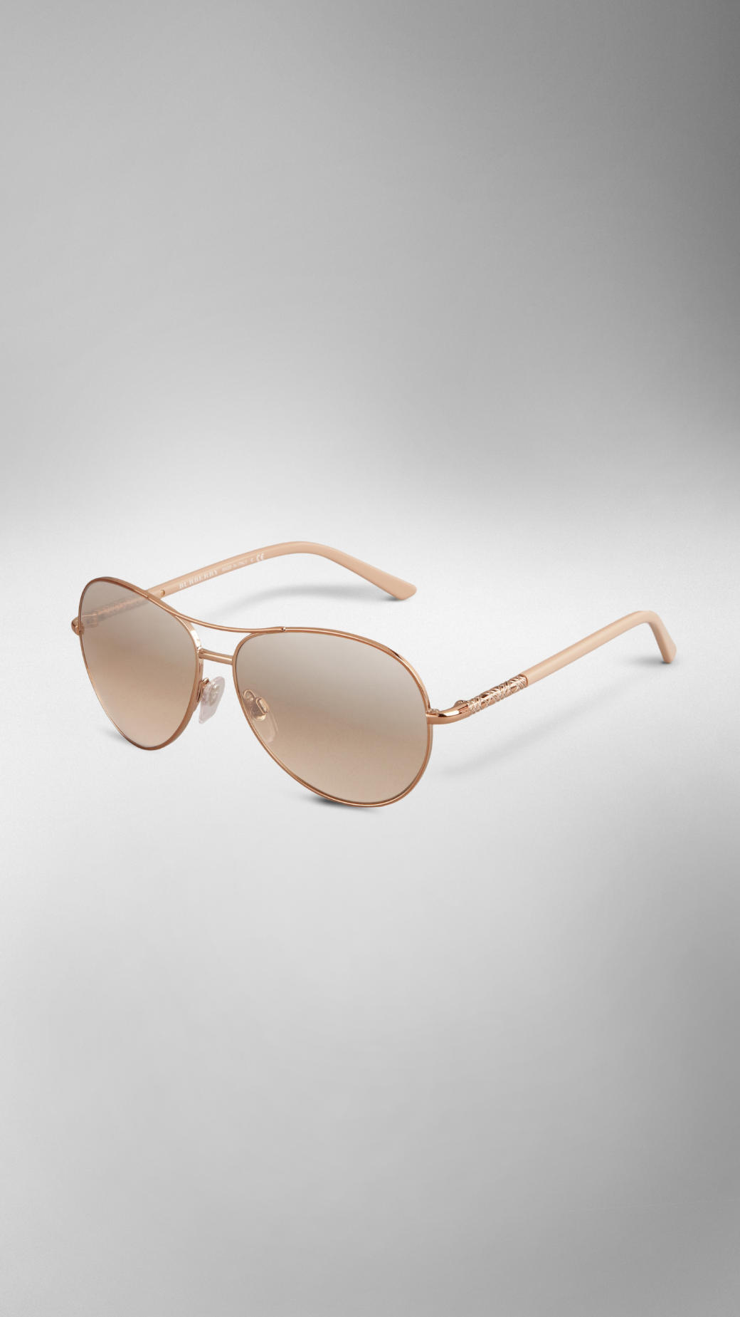 2f6f1bef559 Lyst - Burberry Nude Classic Aviator Sunglasses in Pink
