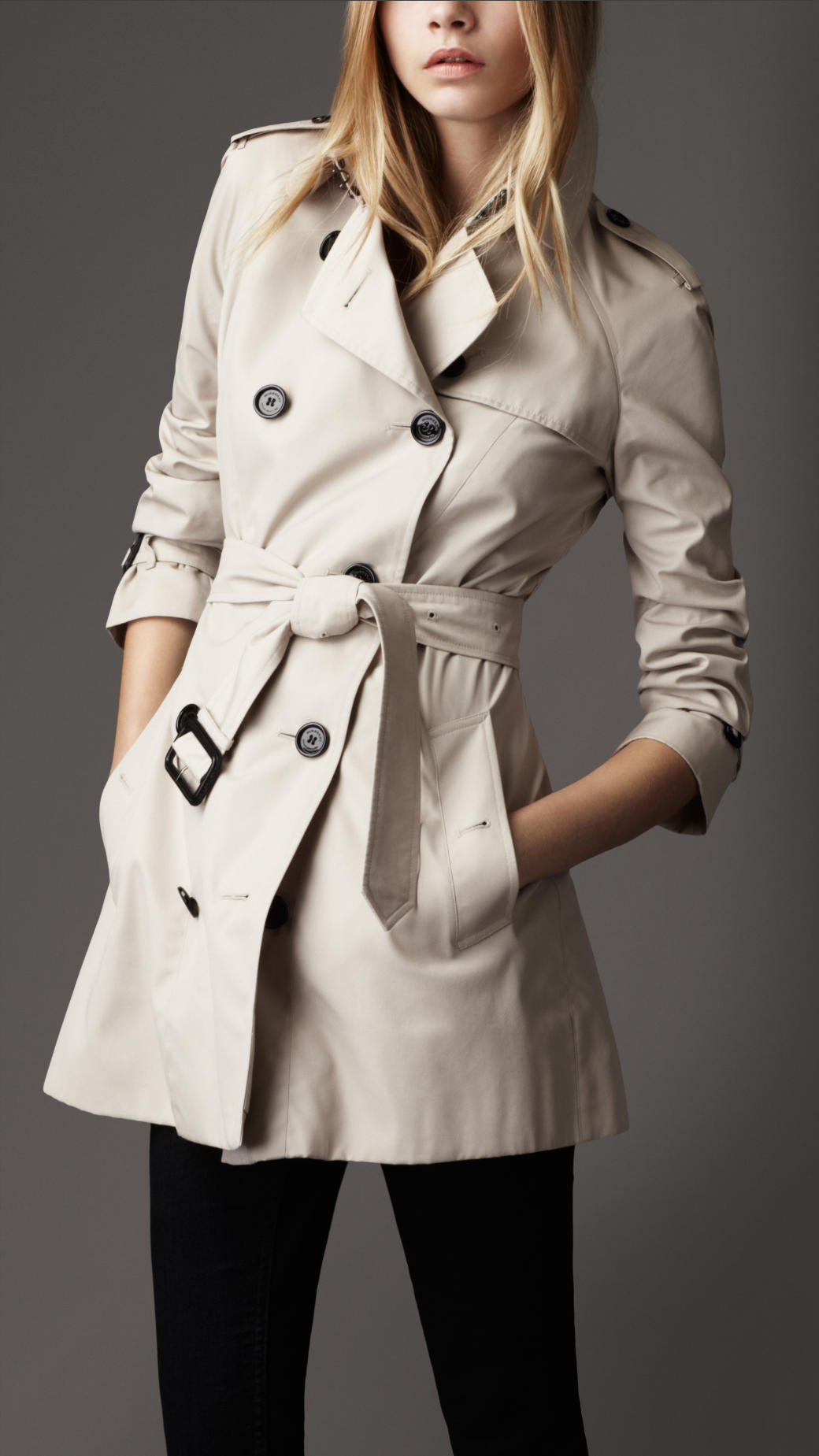 Burberry Short Cotton Rain Coat in Natural | Lyst