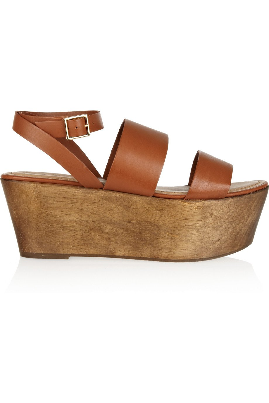 7070bf891 Lyst - Elizabeth and James Bax Leather and Wood Platform Sandals in ...
