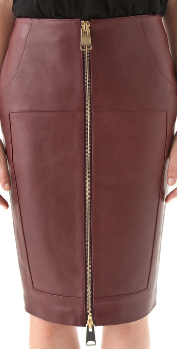 Hakaan Leather Zip Front Pencil Skirt in Brown | Lyst